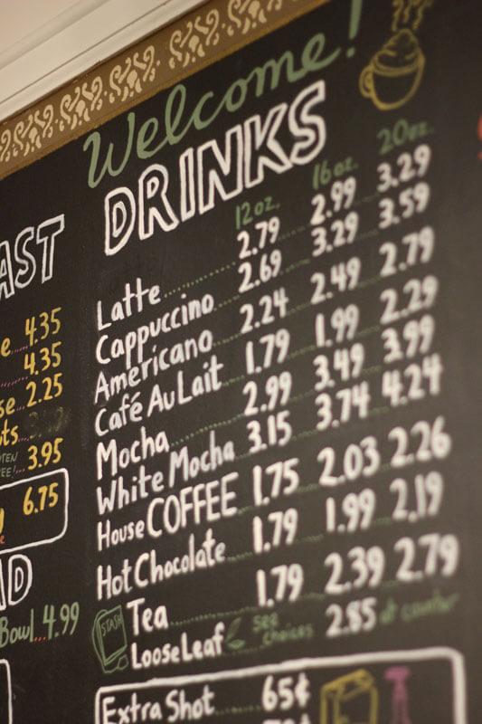 Artistic picture of the drink menu at Latte Da